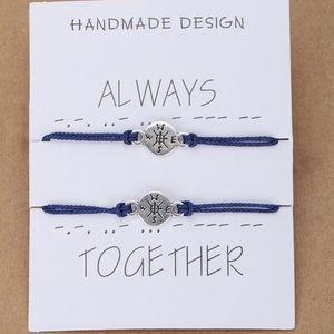 Jewelry - Nautical Compass Navy Blue Thread Bracelet Set